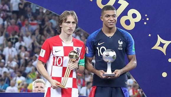 莫德里奇和姆巴佩分获金球奖和最佳新秀奖