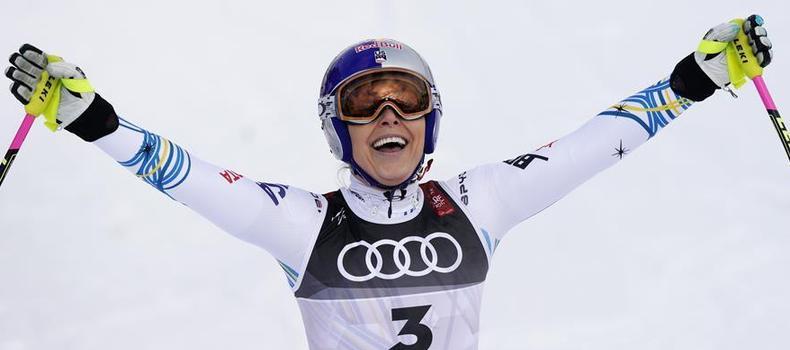 高山滑雪世錦賽:林賽·沃恩女子滑降獲季軍