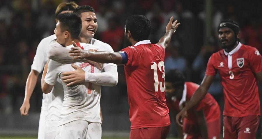 世界杯预选赛:中国队5:0战胜马尔代夫队