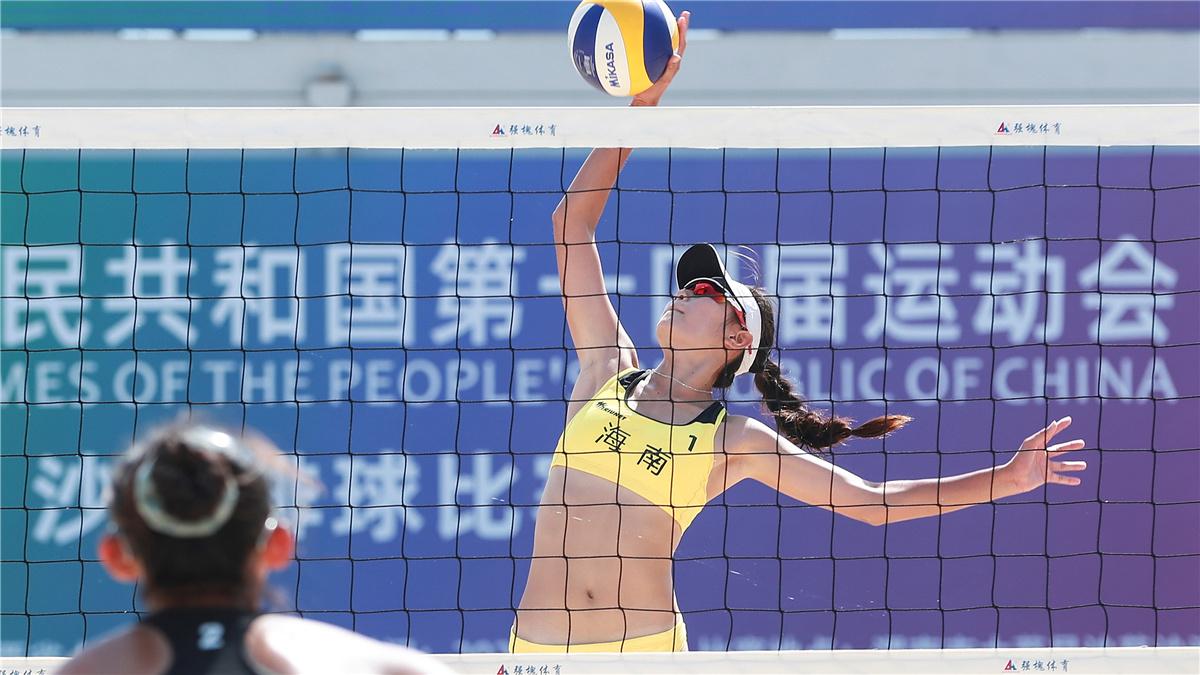 全運會-沙灘排球女子17歲以下組半決賽:江蘇青年二隊勝海南青年一隊
