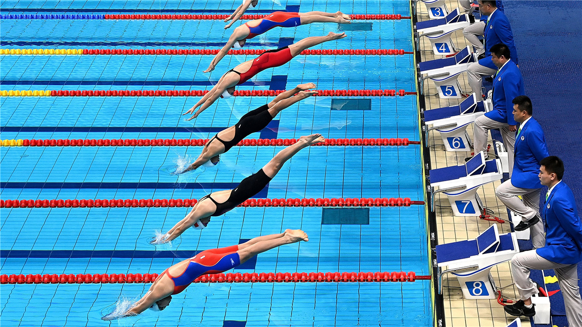 全運會-遊泳女子100米蛙泳決賽:北京隊于靜瑤獲得冠軍