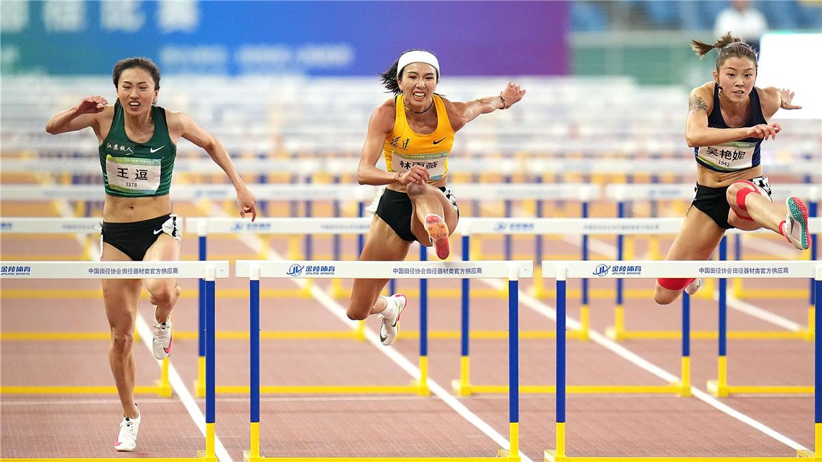 全運會-田徑女子100米欄決賽:福建隊選手林雨薇獲得冠軍